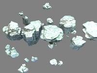 3D stone rocks walls model