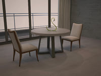 3D table chairs crystal swan model
