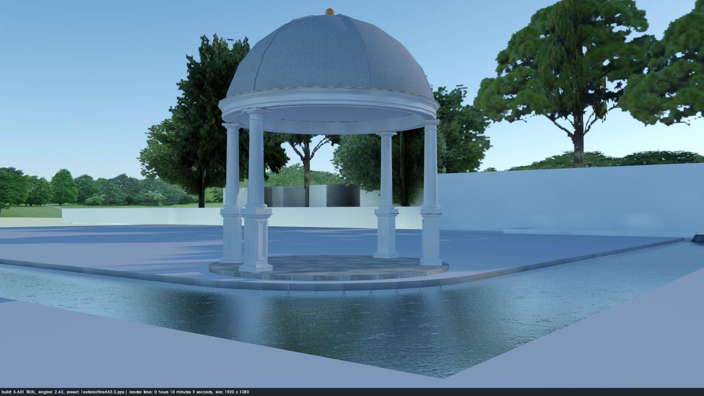 3D classic mansion backyard garden