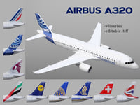 airbus a320 9 liveries 3D model
