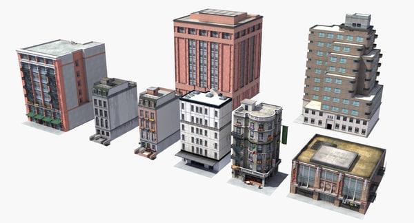 downtown city buildings 3D model