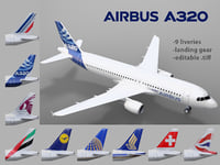 3D airbus a320 9 liveries