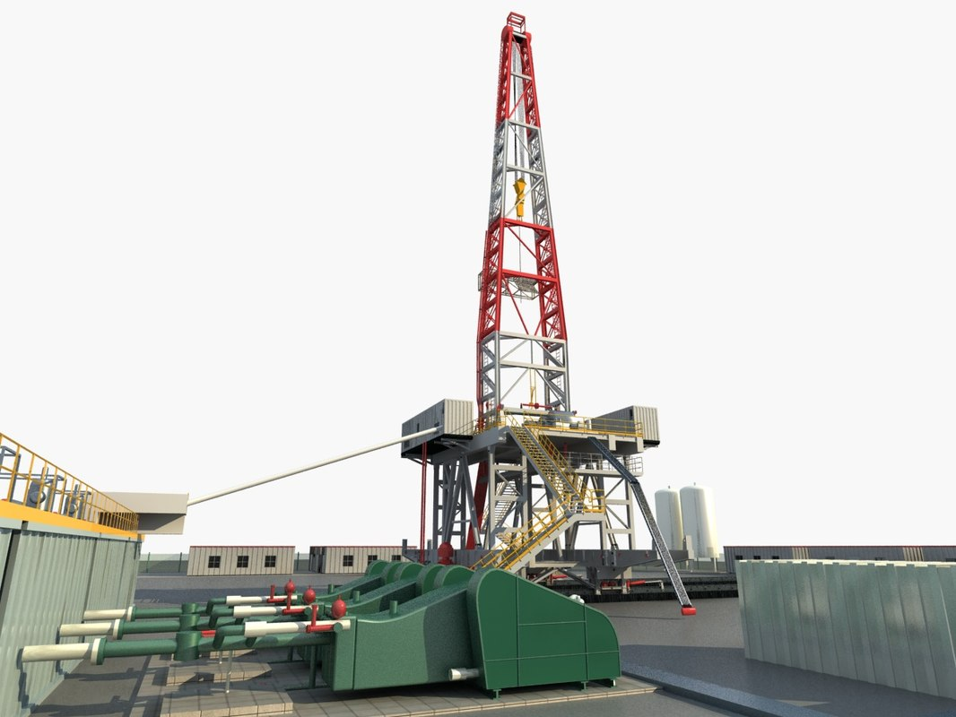 oil land rig platform 3D
