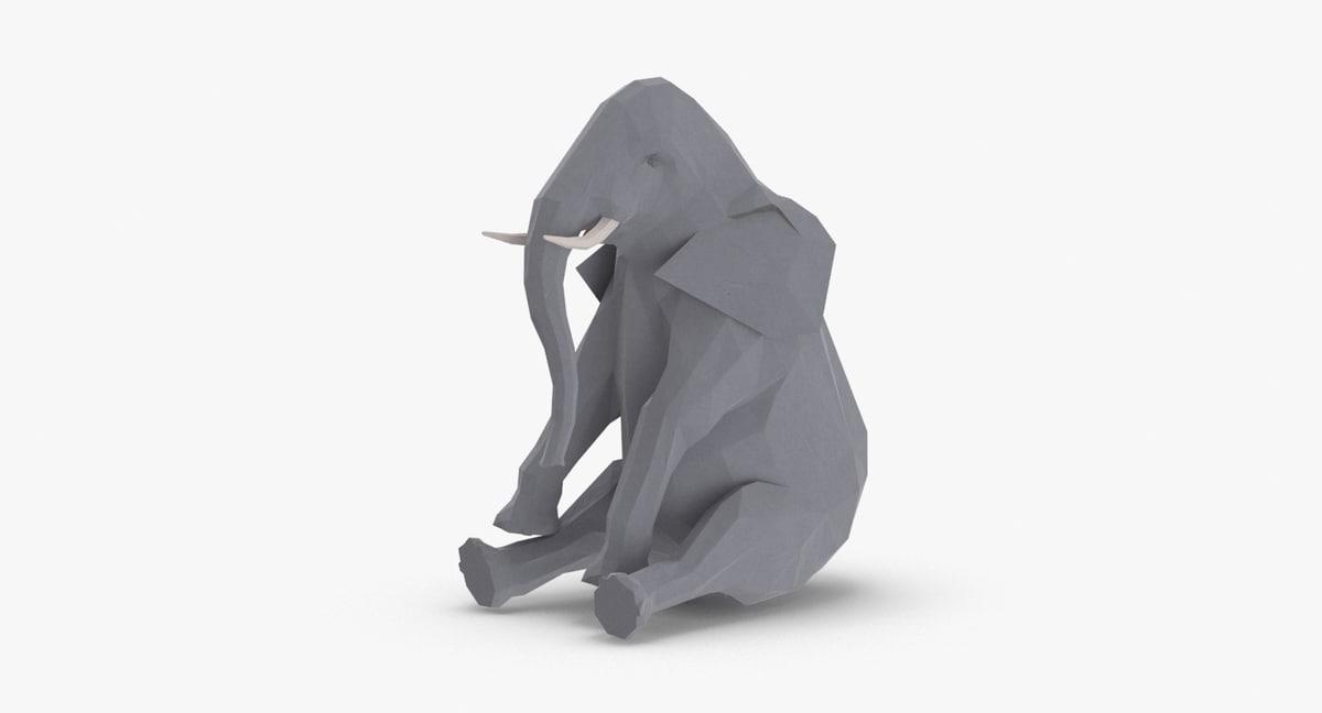 elephant---sitting 3D model