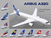 3D airbus a320 9 liveries