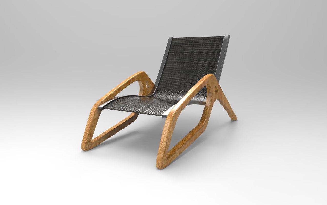 3D organic lounge chair model