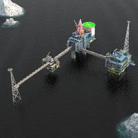 Sleipner Vest offshore oil platform Cluster