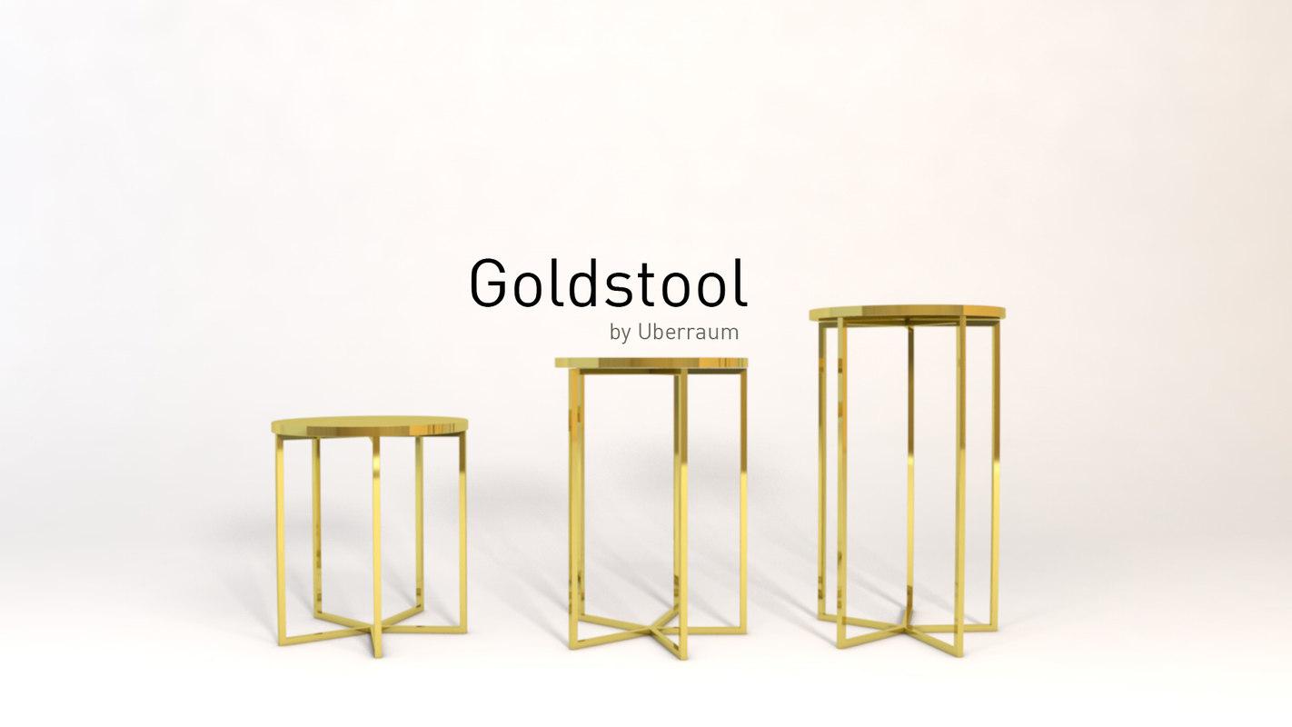 gold stools 3D model
