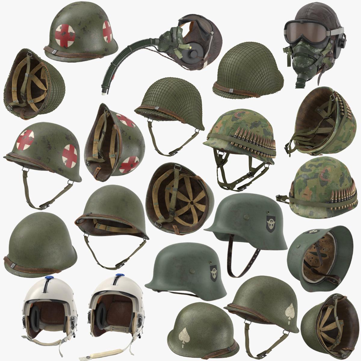 war ii helmets wwii 3D model