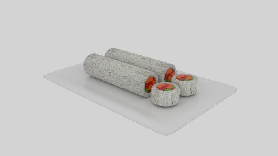 3D cylinder sushi sliced