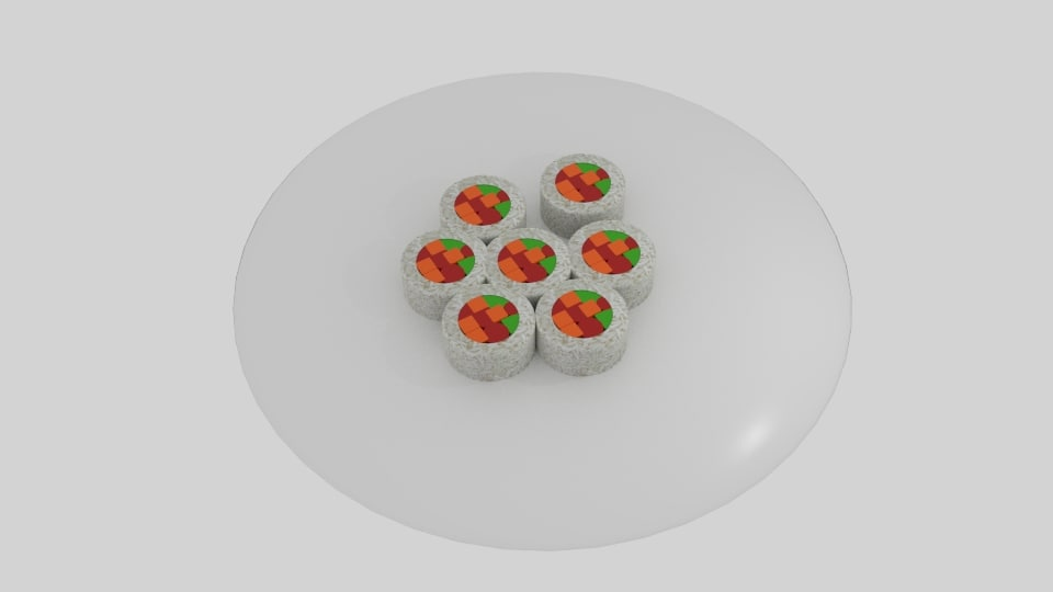3D rice roll sushi platter