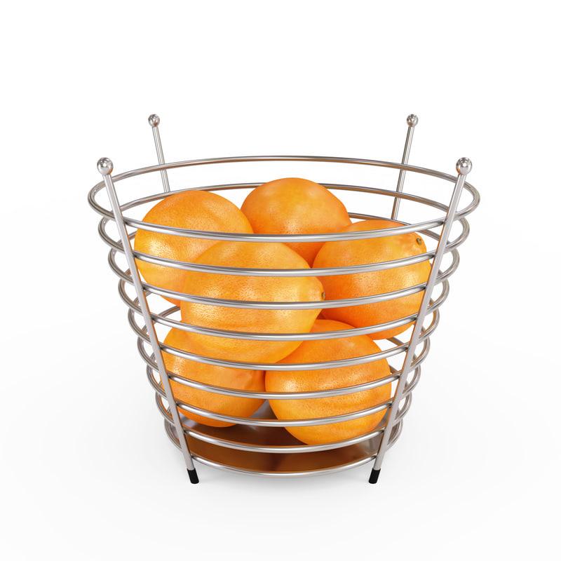 chrome wire fruit basket 3D