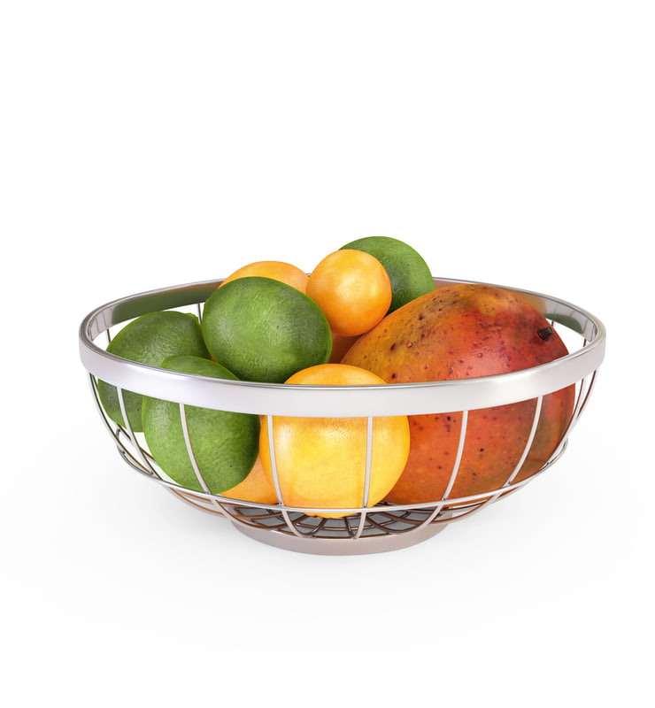 3D chrome wire grid fruit basket