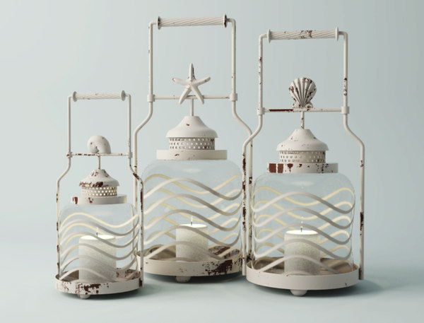 3D frosted globe shell lantern