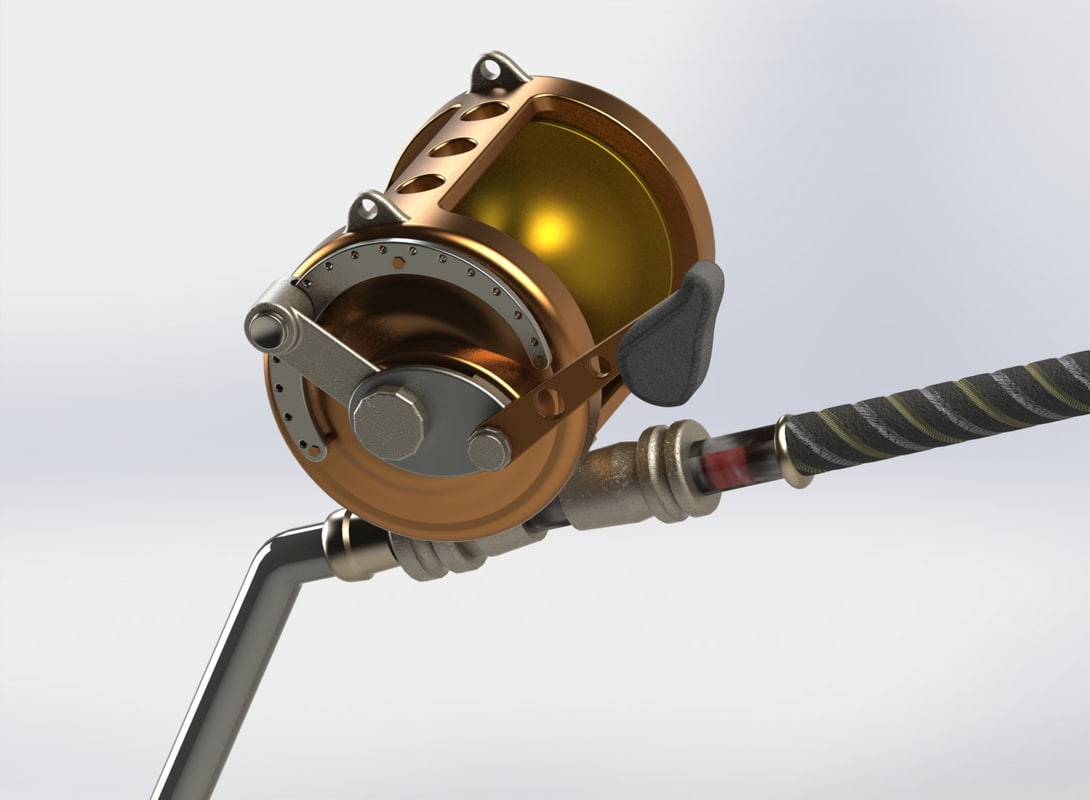 3D model fishing rod tuna