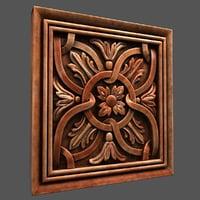 3D wall wood panel model