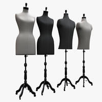 female male mannequin modeled 3D model