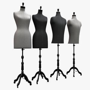 female male mannequin modeled 3D model