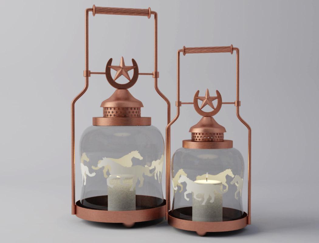 3D horse shoe lantern candleholder