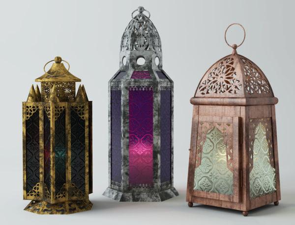 metal moroccan lanterns 3D model