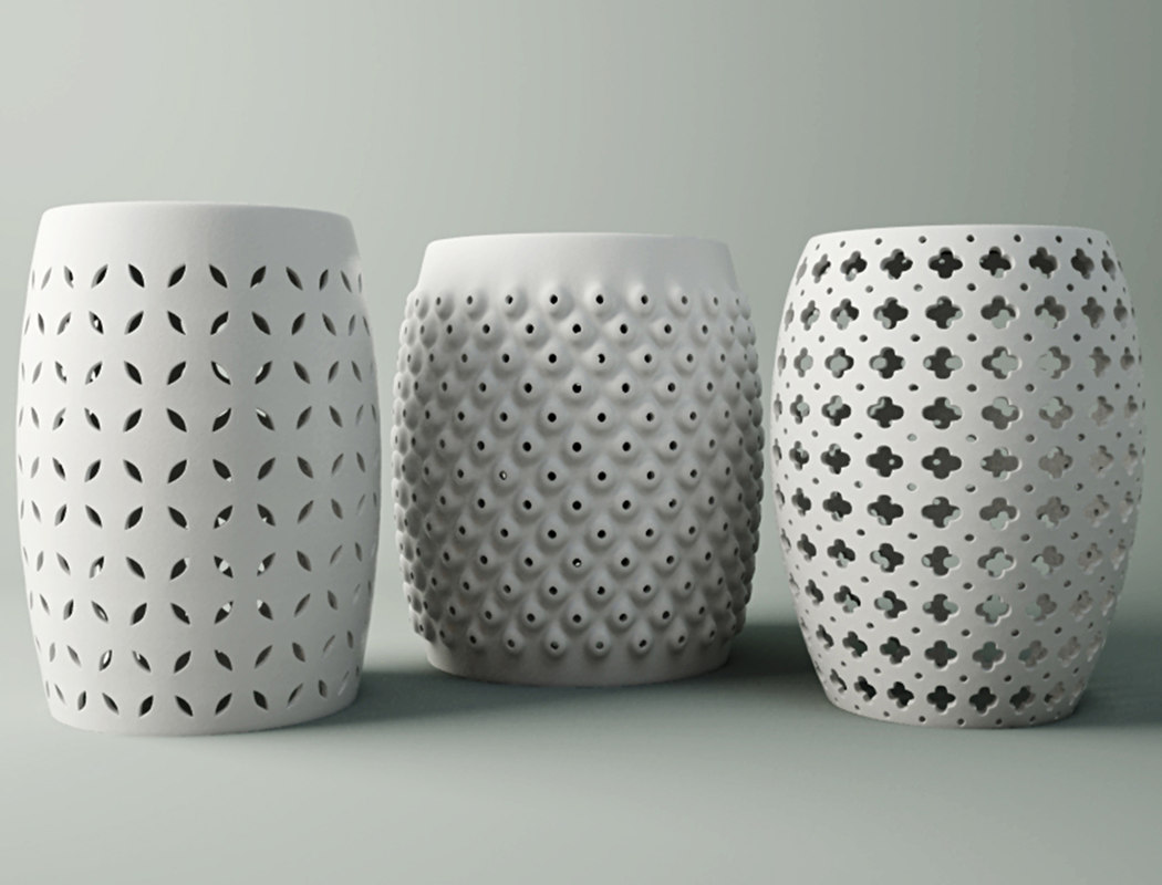 white ceramic stools 3D model