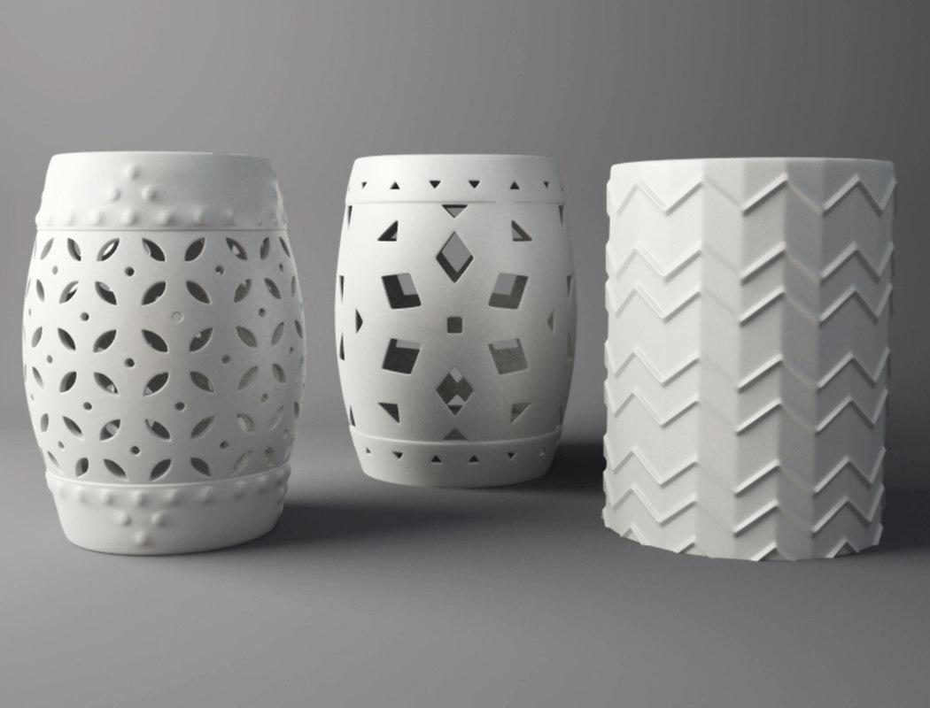 3D white garden stools