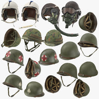 war ii helmets wwii 3D model