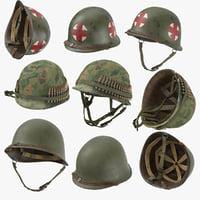 3D war ii m1 helmets