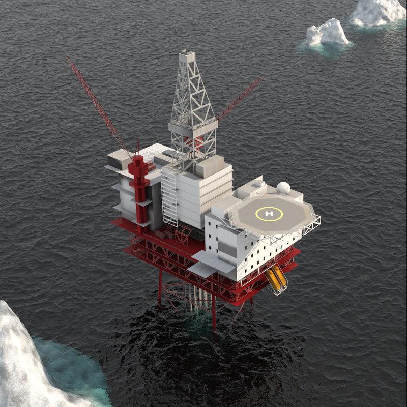 3D jotun b oil platform model