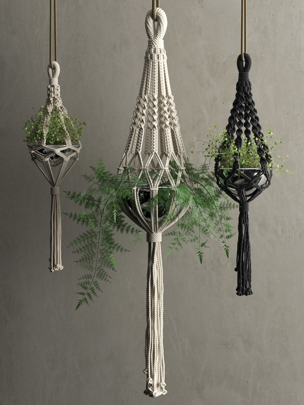 3D macrame hanging pots plants