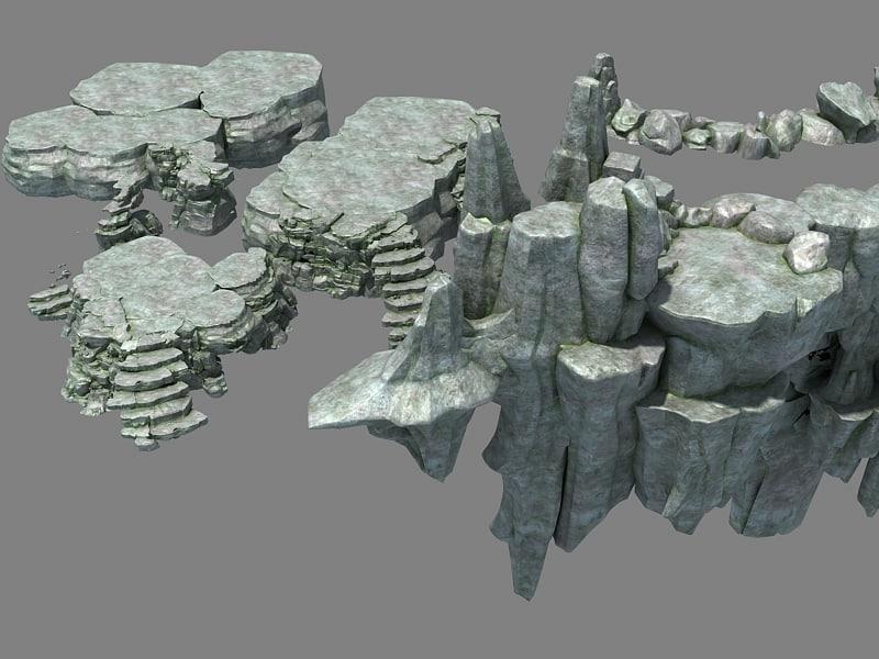 stone rocks walls model