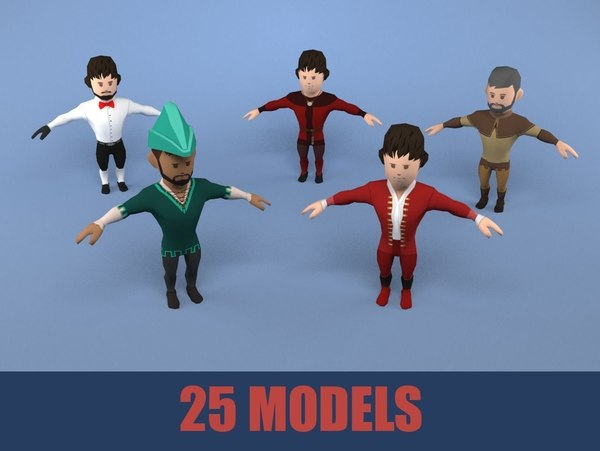 3D model medieval character nobleman pack