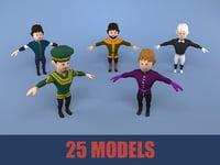 medieval character nobleman pack 3D model