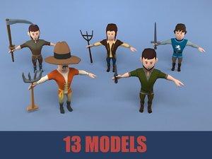 3D medieval character peasant pack model