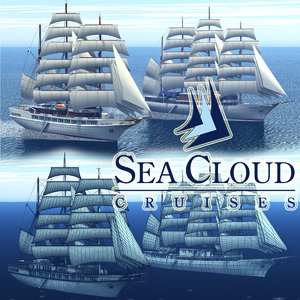 3D dreamscape sea cloud cruise ship model