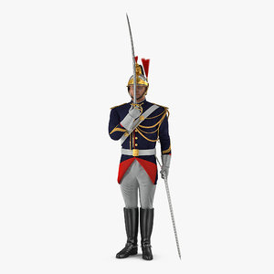 french republican guard traditional 3D model