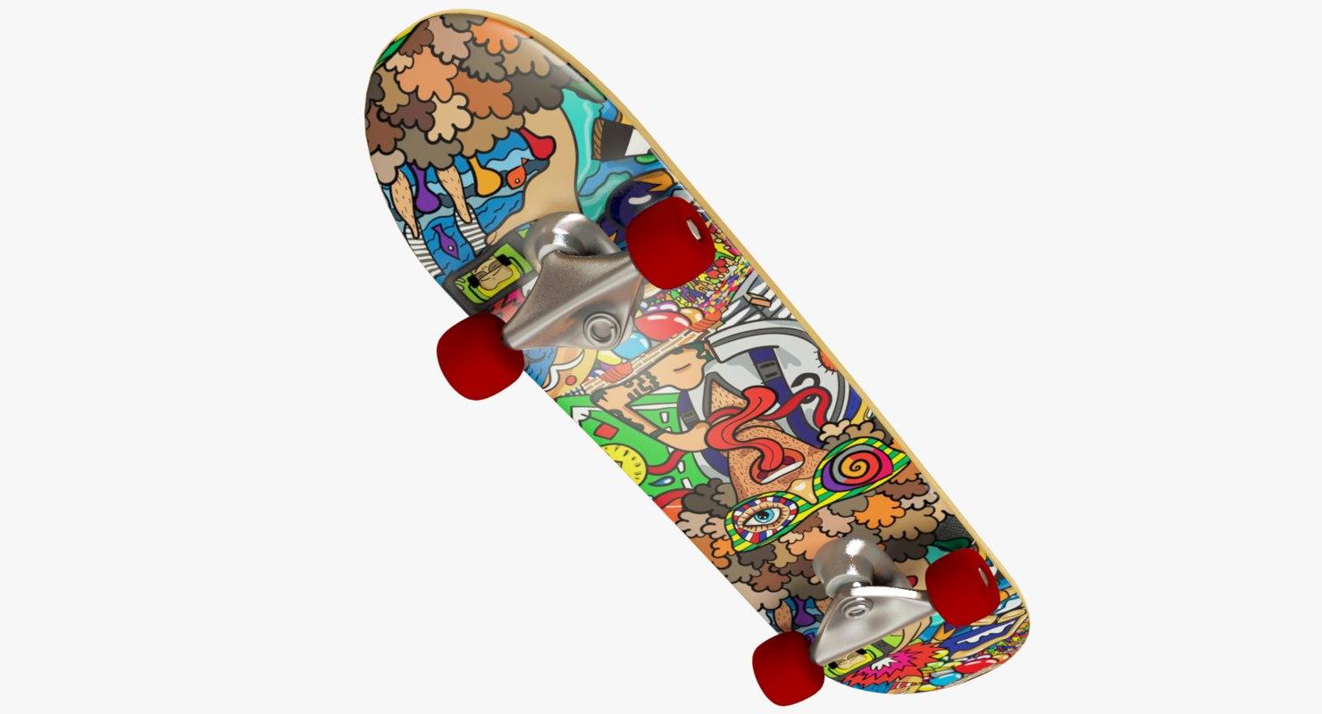 3D skateboard modelled