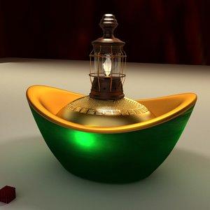 chinese gold ingot 3D model