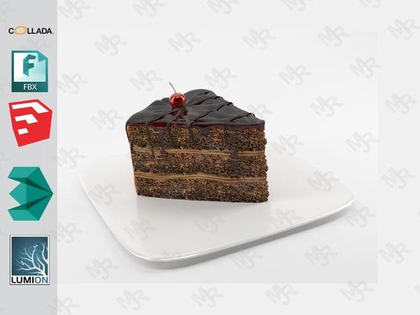 3D slice chocolate cake