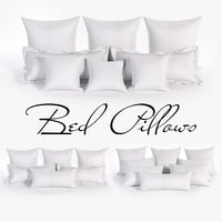 White Bed Pillows 01 (3 sets, 22 different Pillows)