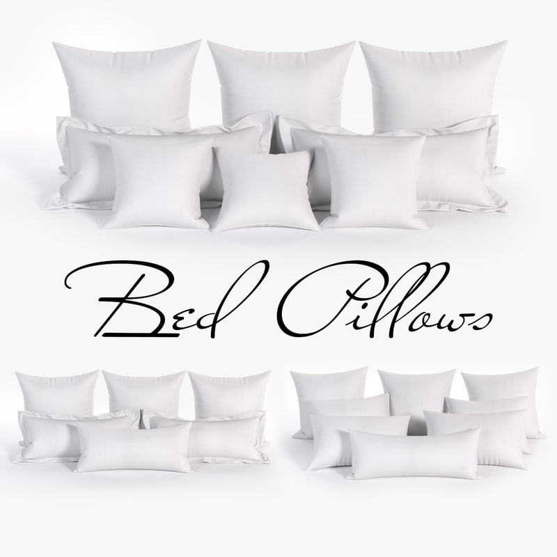 3D white bed pillows 01
