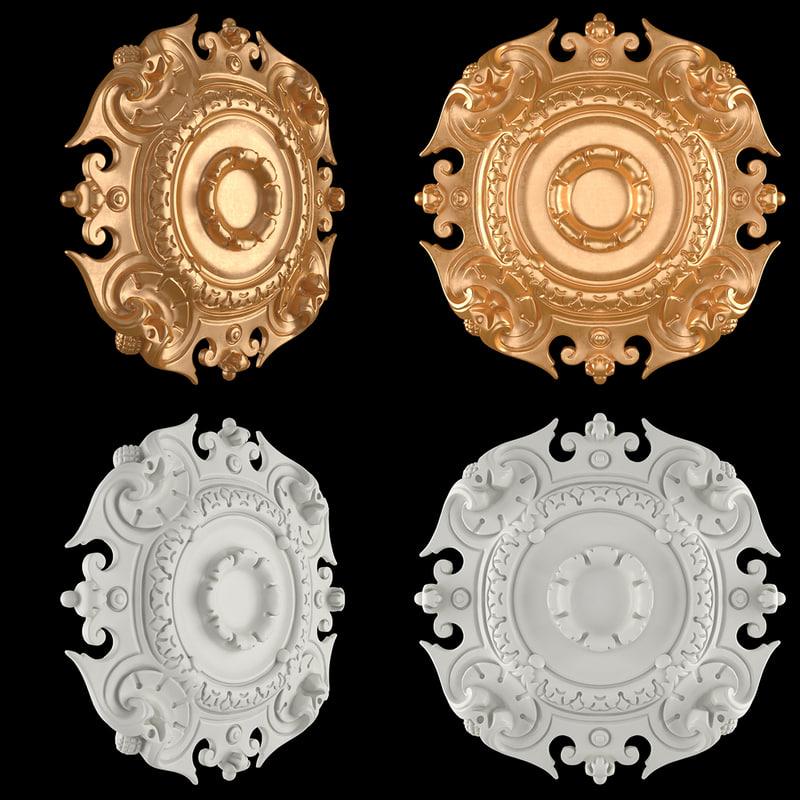 3D rosette gold model