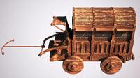 3D model old medieval wagon