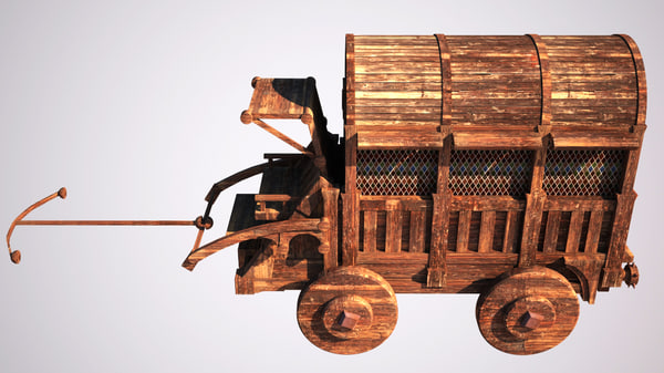 3D model old medieval wagon