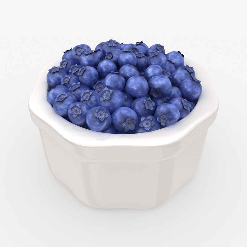 3D realistic blueberries bowl model