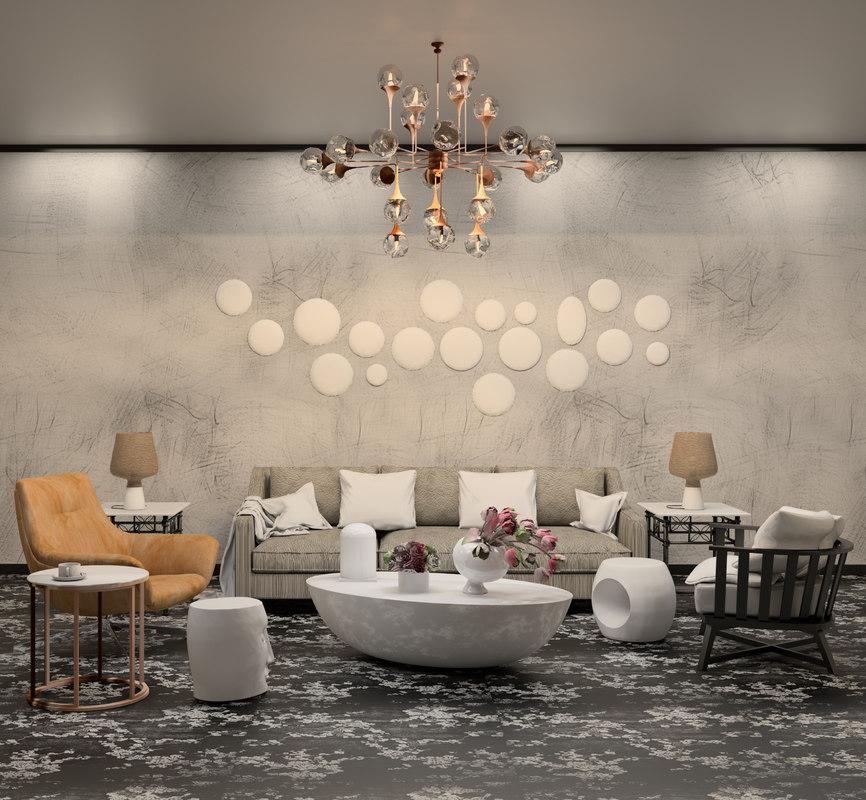 3D modern living room revit