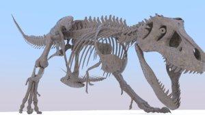 tyrannosaurus skeleton walking cycle 3D