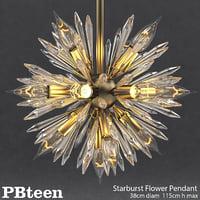 3D pbteen starburst flower pendant