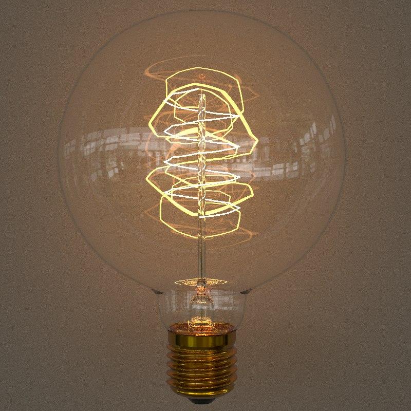 3D model edison bulb