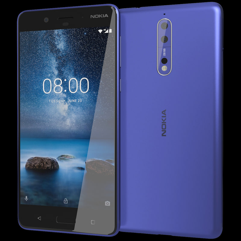 3D realistic nokia 8 tempered model